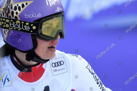 Anna Veith of Austria reacts in the finish area after the Women's Super G race of the Alpine Skiing World Cup in Bansko, Bulgaria, 26 January 2020.