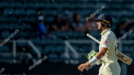 Stock Photo of England's batsman Jos Buttler leaves the field after being dismissed by South Africa's bowler Anrich Nortje on day three of the fourth cricket test match between South Africa and England at the Wanderers stadium in Johannesburg, South Africa