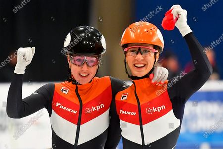 Suzanne Schulting (R) of the Netherlands celebrates after winning the women's 1,000m final of the ISU European Short Track Speed Skating Championships in Debrecen, Hungary, 26 January 2020. Schulting won ahead of her second placed compatriot Lara van Ruijven (L).