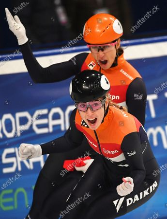 Suzanne Schulting (back) of the Netherlands celebrates after winning the women's 1,000m final of the ISU European Short Track Speed Skating Championships in Debrecen, Hungary, 26 January 2020. Schulting won ahead of her second placed compatriot Lara van Ruijven (front).