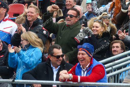 Patrick Schwarzenegger, Arnold Schwarzenegger, Heather Milligan, and Tobias Moretti