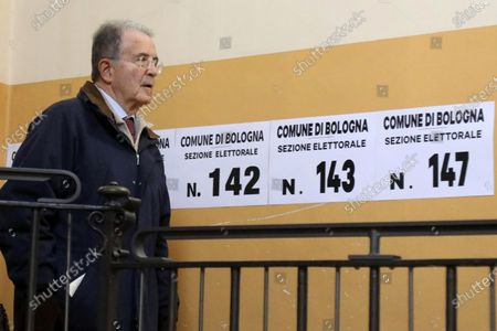 Stock Image of Former Italian prime minister Romano Prodi casts his ballot at a polling station during the regional elections in the Emilia-Romagna Region, in Bologna, Italy, 26 January 2020. Italians head to the polls in regional elections in Emilia Romagna and Calabria.