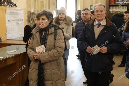 Stock Photo of Former Italian prime minister Romano Prodi casts his ballot at a polling station during the regional elections in the Emilia-Romagna Region, in Bologna, Italy, 26 January 2020. Italians head to the polls in regional elections in Emilia Romagna and Calabria.