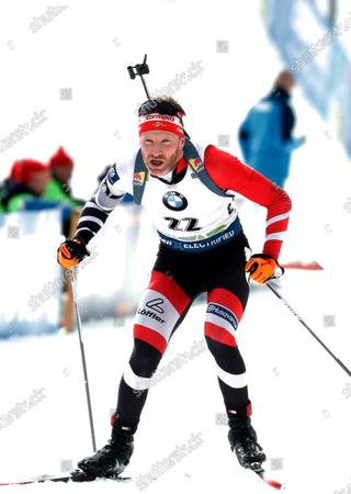 Simon Eder of Austria competes during the World Cup Biathlon Men 15 km Mass start at Pokljuka Mount, Slovenia, 26 January 2020.