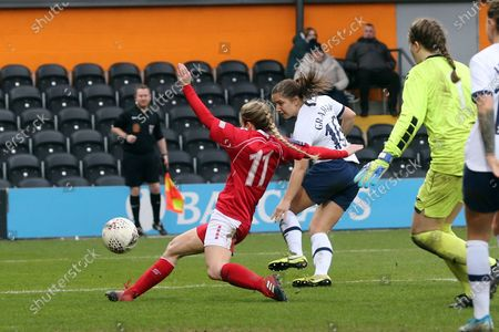 Darcie Greene of Barnsley women blocks an effort from Kit Graham of Tottenham Hotspur women during Tottenham Hotspur Women vs Barnsley Women, Women's FA Cup Football at the Hive Stadium on 26th January 2020