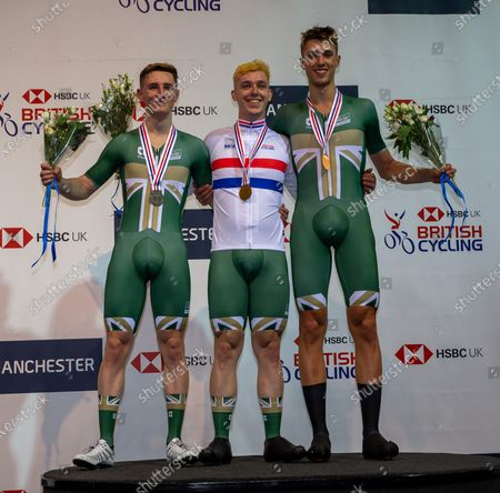 Stock Image of 26th January 2020; National Cycling Centre, Manchester, Lancashire, England; HSBC British Cycling Track Championships; Men's scratch medallists from L to R Matt Rushby Team Inspired silver, Rhys Britton Team inspired gold, Ethan Vernon Team Inspired bronze
