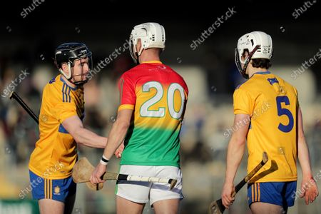 Clare vs Carlow. Clare's Pat O'Connor shakes hands after the game with Jack Kavanagh of Carlow