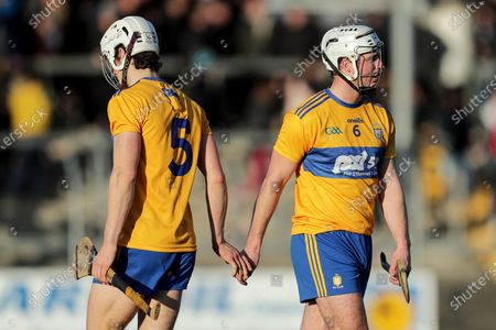 Clare vs Carlow. Clare's Pat O'Connor celebrates after the game with Aidan McCarthy