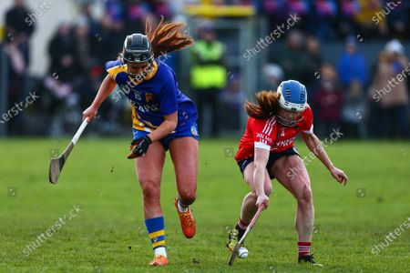 Stock Picture of Carnmore vs St. Rynagh's. Carnmore's Mary Lardner with St. Rynagh's Kate Kenny