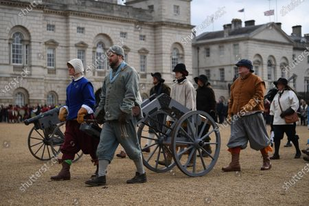 Re-enactors from the English Civil War Society take part in the King's Army Annual Parade in London, Britain, 26 January 2020. The King's Army Annual Parade retrace the route taken by King Charles I from St James Palace to the place of his execution at the Banqueting House in Whitehall.