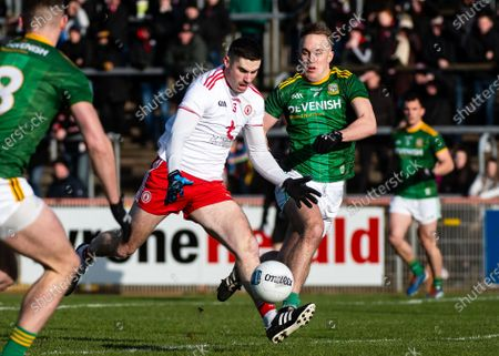 Stock Picture of Tyrone vs Meath. Tyrone's Michael Cassidy and Ronan Ryan of Meath