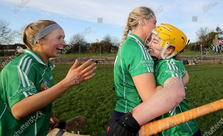 Sarsfields vs St. Vincent's. Sarsfields Laura Ward, Maria Cooney and Siobhan McGrath celebrate after the game