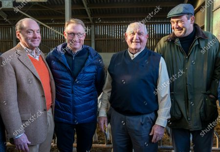 (L-R) US Ambassador to Belgium Ronald Gidwitz, farmer Eric Coheur, US Secretary of Agriculture Sonny Perdue and Belgian Agriculture Minister Denis Ducarme pose for a photo during a visit to cattle farm of 'Blancs Bleus Belges' in Awans, Belgium, 26 January 2020. US Secretary of Agriculture Sonny Perdue is in Belgium, the Netherlands and Italy for meetings on agricultural issues.