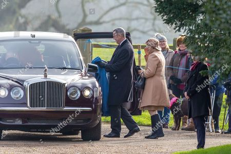 Stock Image of Queen Elizabeth II leaves St Mary Magdalene Church after morning service with former opera singer Dame Kiri Te Kanawa