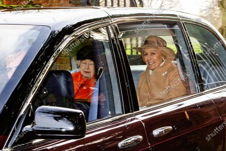 Stock Picture of Queen Elizabeth II leaves St Mary Magdalene Church after morning service with former opera singer Dame Kiri Te Kanawa