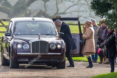 Stock Photo of Queen Elizabeth II leaves St Mary Magdalene Church after morning service with former opera singer Dame Kiri Te Kanawa
