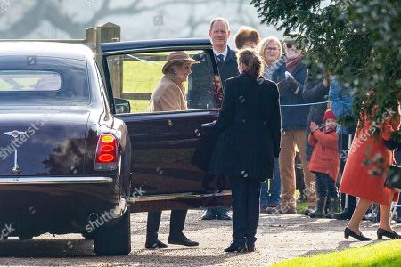 Stock Photo of Queen Elizabeth II arrives at St Mary Magdalene Church for morning service with former opera singer Dame Kiri Te Kanawa.