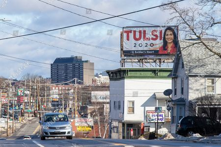 A billboard for Democratic presidential candidate U.S. Rep. Tulsi Gabbard is seen, in Manchester, N.H