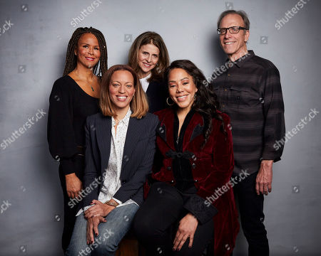 """Sil Lai Abrams, Amy Ziering, Kirby Dick, Drew Dixon, Sheri Hines. Sil Lai Abrams, from back left, director Amy Ziering, director Kirby Dick, Drew Dixon, bottom left, and Sheri Hines pose for a portrait to promote the film """"On the Record"""" at the Music Lodge during the Sundance Film Festival, in Park City, Utah"""