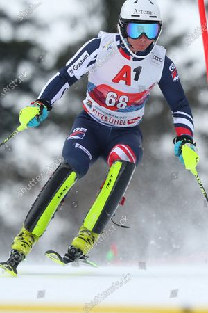 Laurie Taylor of Great Britain races down the course, during the Audi FIS Alpine Ski World Cup Slalom race on in Kitzbuehel, Austria