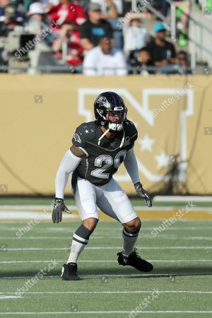 Stock Image of AFC safety Earl Thomas of the Baltimore Ravens in coverage during the NFL Pro Bowl football game, in Orlando, Fla