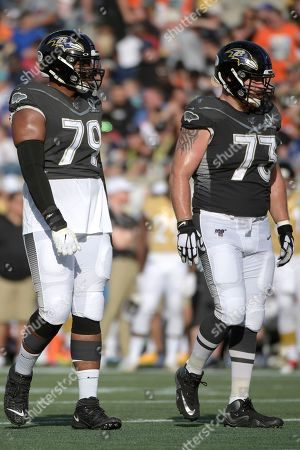 LPGA Diamond Resorts Tournament of Champions. AFC offensive tackle Ronnie Stanley (79), and guard Marshal Yanda (73), both of the Baltimore Ravens, set up for a play during the first half of the NFL Pro Bowl football game against the NFC in Orlando, Fla