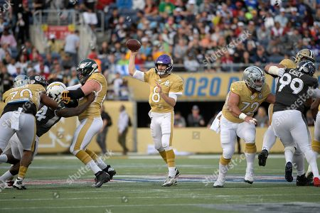 Stock Photo of LPGA Diamond Resorts Tournament of Champions. NFC quarterback Kirk Cousins (8), of the Minnesota Vikings, throws a pass during the second half of the NFL Pro Bowl football game against the AFC in Orlando, Fla