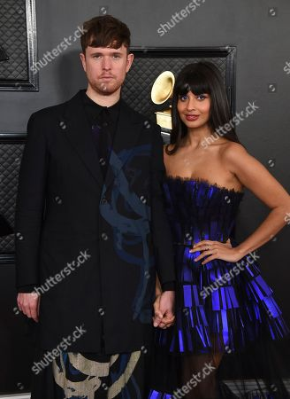 James Blake, Jameela Jamil. James Blake, left, and Jameela Jamil arrive at the 62nd annual Grammy Awards at the Staples Center, in Los Angeles
