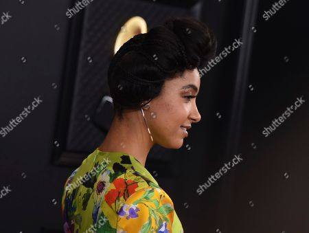 Esperanza Spalding arrives at the 62nd annual Grammy Awards at the Staples Center, in Los Angeles