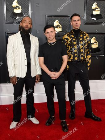 Stock Image of Skrillex, Ty Dolla Sign, Boys Noize. Ty Dolla Sign, from left, Skrillex and Boys Noize arrive at the 62nd annual Grammy Awards at the Staples Center, in Los Angeles