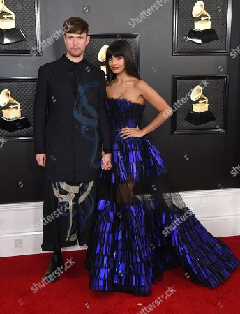 Jameela Jamil, James Blake. James Blake, left, and Jameela Jamil arrive at the 62nd annual Grammy Awards at the Staples Center, in Los Angeles