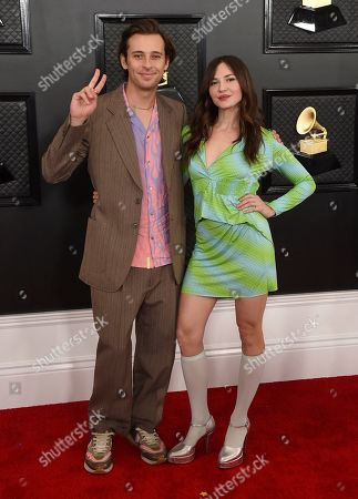 Paige Elkington, Flume. Flume, left and Paige Elkington arrive at the 62nd annual Grammy Awards at the Staples Center, in Los Angeles
