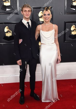 Dua Lipa, Anwar Hadid. Anwar Hadid, left, and Dua Lipa arrive at the 62nd annual Grammy Awards at the Staples Center, in Los Angeles