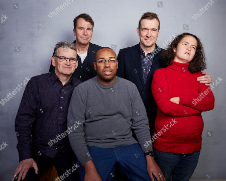 """Jerry Rothwell, Jeremy Dear, Ben McGann, David Mitchell, Emma Budway. Director Jerry Rothwell, from left, producer Jeremy Dear, Ben McGann, David Mitchell, and Emma Budway pose for a portrait to promote the film """"The Reason I Jump"""" at the Music Lodge during the Sundance Film Festival, in Park City, Utah"""