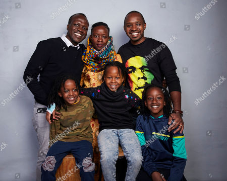"Sam Soko, Njeri Mwangi, Boniface Mwangi, Jabali Mwangi, Naila Mwangi, Nate Mwangi. Director Sam Soko, from top left, Njeri Mwangi, Boniface Mwangi, Jabali Mwangi, from bottom left, Naila Mwangi and Nate Mwangi pose for a portrait to promote the film ""Softie"" at the Music Lodge during the Sundance Film Festival, in Park City, Utah"