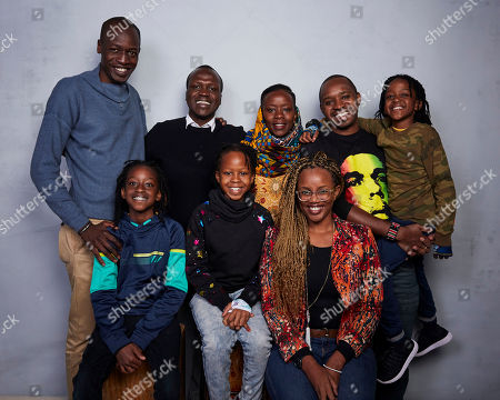 "Bramwel Iro, Sam Soko, Njeri Mwangi, Boniface Mwangi, Jabali Mwangi, Nate Mwangi, Naila Mwangi, Toni Kamau. Bramwel Iro, from top left, director Sam Soko, Njeri Mwangi, Boniface Mwangi, Jabali Mwangi, Nate Mwangi, from bottom left, Naila Mwangi, and Toni Kamau pose for a portrait to promote the film ""Softie"" at the Music Lodge during the Sundance Film Festival, in Park City, Utah"