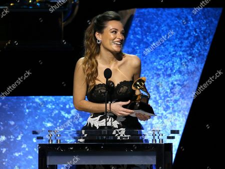 """Stock Image of Nicola Benedetti accepts the award for best classical instrumental solo for """"Marsalis: Violin Concerto; Fiddle Dance Suite"""" at the 62nd annual Grammy Awards, in Los Angeles"""