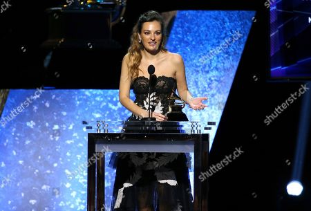 """Stock Picture of Nicola Benedetti accepts the award for best classical instrumental solo for """"Marsalis: Violin Concerto; Fiddle Dance Suite"""" at the 62nd annual Grammy Awards, in Los Angeles"""