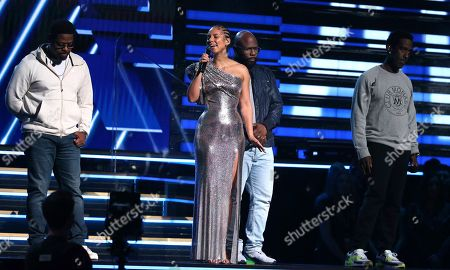 Nathan Morris, Alicia Keys, Wanya Morris, Shawn Stockman. Nathan Morris, from left, Wanya Morris, Shawn Stockman, of Boyz II Men?, and Alicia Keys, second left, sing a tribute in honor of the late Kobe Bryant at the 62nd annual Grammy Awards, in Los Angeles