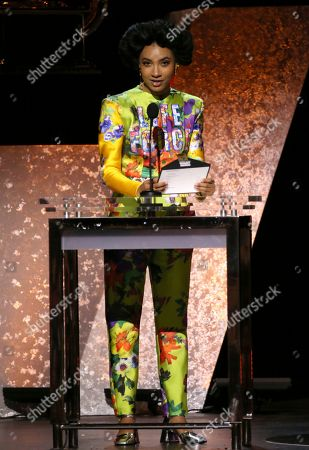 Esperanza Spalding presents the award for best new age album at the 62nd annual Grammy Awards, in Los Angeles