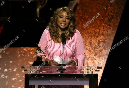 """Gloria Gaynor accepts the award for best roots gospel album for """"Testimony"""" at the 62nd annual Grammy Awards, in Los Angeles"""