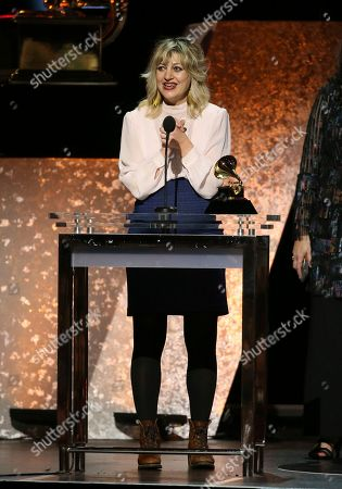 """Stock Picture of Anais Mitchell accepts the award for best musical theater album for """"Hadestown"""" at the 62nd annual Grammy Awards, in Los Angeles"""