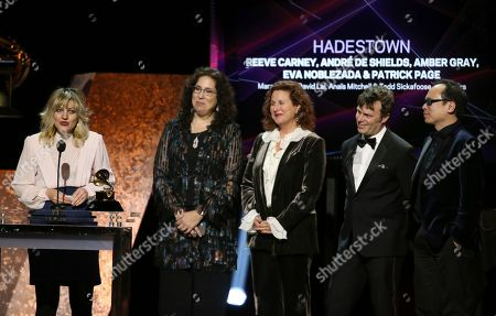 """Anais Mitchell, far left, accepts the award for best musical theater album for """"Hadestown"""" at the 62nd annual Grammy Awards, in Los Angeles"""