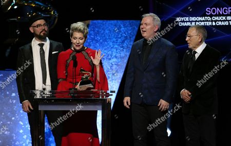 """Charlie Porter, Joyce DiDonato, Craig Terry, Chuck Israels. Charlie Porter, from left, Joyce DiDonato, Craig Terry, and Chuck Israels accept the award for best classical solo vocal album for """"Songplay"""" at the 62nd annual Grammy Awards, in Los Angeles"""