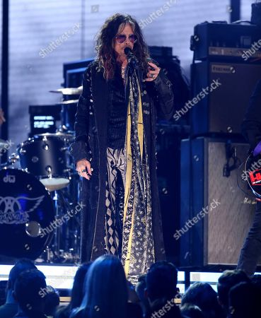 Steven Tyler of Aerosmith performs at the 62nd annual Grammy Awards, in Los Angeles