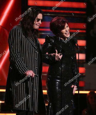 Ozzy Osbourne, Sharon Osbourne. Ozzy Osbourne, left, and Sharon Osbourne introduce a performer at the 62nd annual Grammy Awards, in Los Angeles