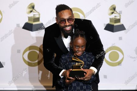 PJ Morton and Peyton Morton pose in the press room with the Grammy for Best R&B Song during the 62nd annual Grammy Awards ceremony at the Staples Center in Los Angeles, California, USA, 26 January 2020.