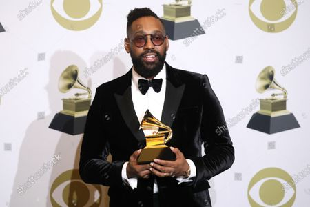 PJ Morton poses in the press room with the Grammy for Best R&B Song during the 62nd annual Grammy Awards ceremony at the Staples Center in Los Angeles, California, USA, 26 January 2020.
