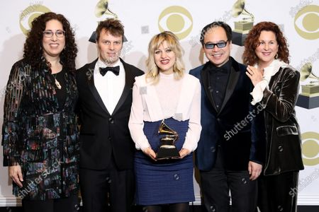 Mara Isaacs, Todd Sickafoose, Anais Mitchell and David Lai pose in the press room with the Grammy for Best Musical Theater Album during the 62nd annual Grammy Awards ceremony at the Staples Center in Los Angeles, California, USA, 26 January 2020.