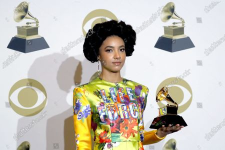 Esperanza Spalding poses in the press room with the Grammy for 'Best Jazz Vocal Album' during the 61st annual Grammy Awards ceremony at the Staples Center in Los Angeles, California, USA, 26 January 2020.